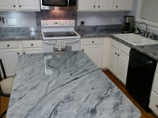 White And Grey Epoxy Countertops